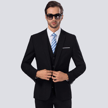 (Jacket+Pant+vest) New Autumn Men Wedding Navy Blue Suits Male Blazers Slim Fit for Costume Business Formal Party