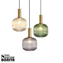 Lámparas colgantes de noche iluminación de vidrio Simple a rayas vintage pequeña lámpara colgante oro galvanizado verde cristal droplight loft