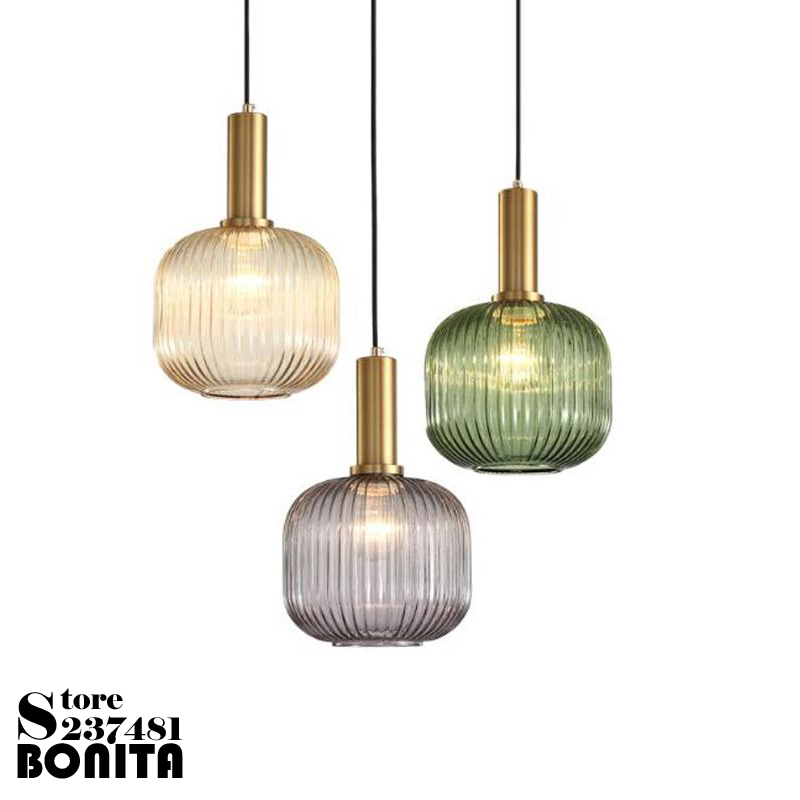 Nordic bedside hanging lamps retro Simple glass striped vintage small <font><b>pendant</b></font> lamp Electroplated gold green glass droplight loft image