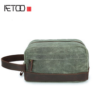 AETOO New Men And Women Hand Wrapped Oil Wax Canvas Wash Bag Retro Boy Bag Holding