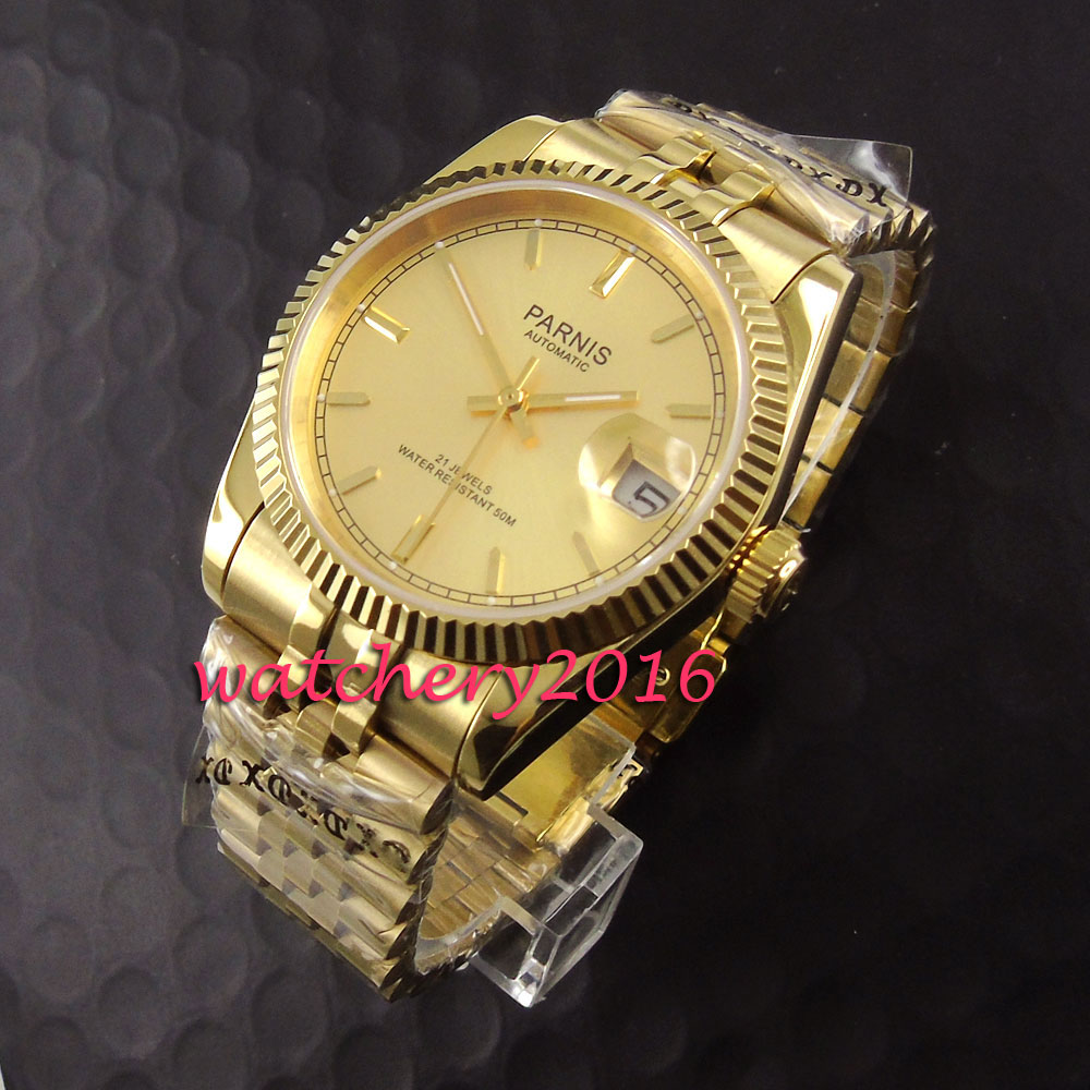 Casual 36mm Parnis yellow golden dial date adjust sapphire glass automatic self-wind movement Mens Watch Casual 36mm Parnis yellow golden dial date adjust sapphire glass automatic self-wind movement Mens Watch