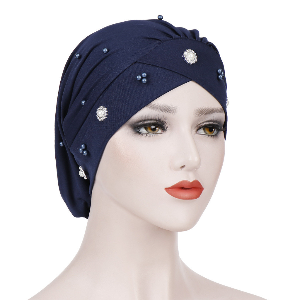 Feitong Cap African Style Headwear Cap African Style Muslim Turban Hair Accessories Fashion Women Solid Braided Bandanas#38