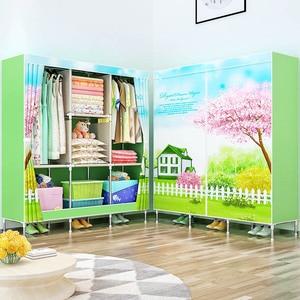 Image 3 - 3D 絵画不織布ワードローブ鋼フレーム補強立ち収納オーガナイザークロキャビネットホーム寝室の家具