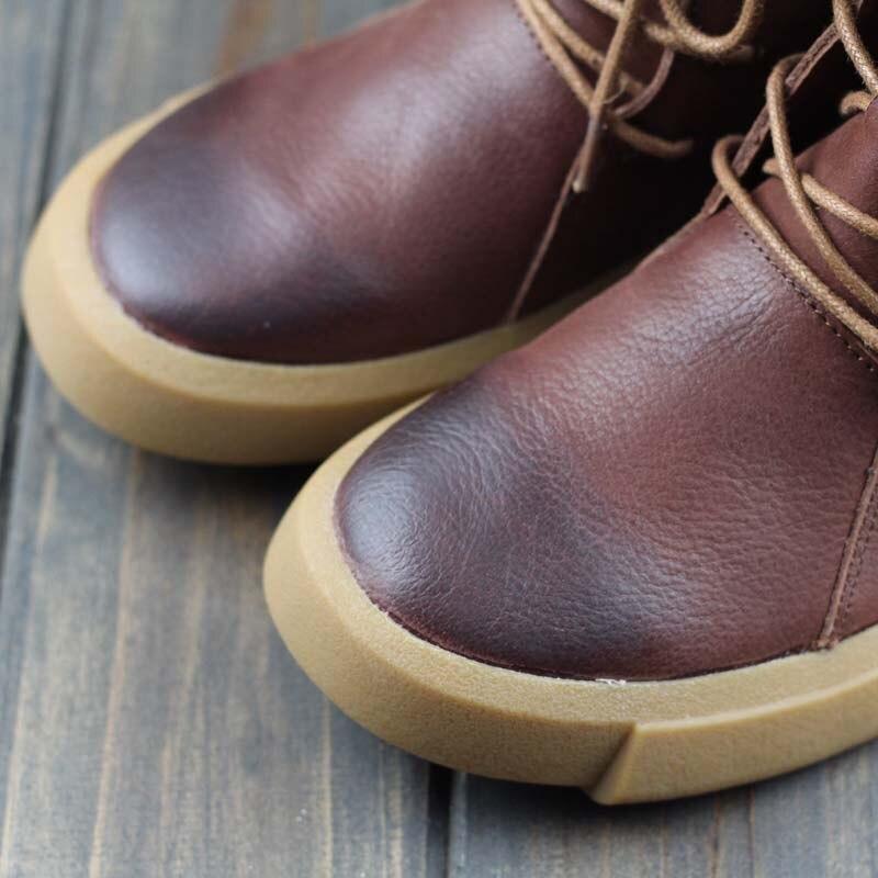 Careaymade 핸드 메이드 헤드 레이어 가죽 플랫 하단 짧은 부츠, 소 가죽 레트로 아트, 모리 부서 레저 여성 부츠 8558 1-에서앵클 부츠부터 신발 의  그룹 3