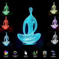 Yoga Meditation 3D Illusion Lamp Night Light LED 7 Color Changing Touch Switch Acrylic Colorful Atmosphere