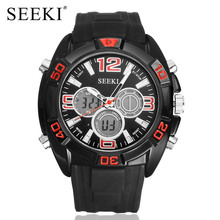 SEEKI brand men dual display sport watches analog digital LED Electronic wristwatch military stainless steel rubber strap