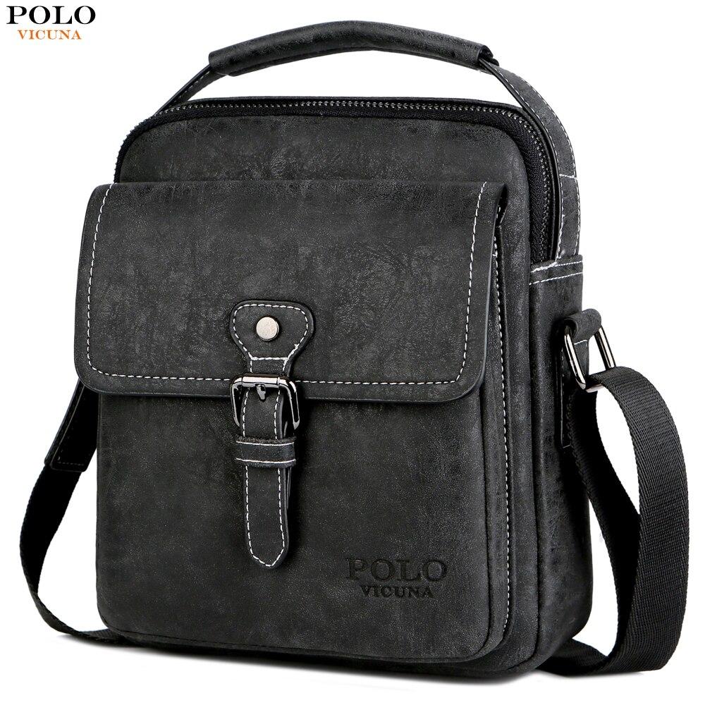 cdf9b5ee7f7 Detail Feedback Questions about VICUNA POLO Vintage Men Shoulder Bag  Portable Business Bag Men Leather Black Handbag Magnetic Buckle Open  Crossbody Casual ...