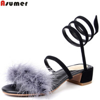 ASUMER 2018 fashion summer shoes woman casual elegant sandals women suede leather shoes square heel black pink med heels shoes