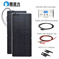 ETFE flexible solar panel 200w Class A monocrystalline cell 100W 12V/24v solar MPPTcontroller dc waterproof Connector Connector