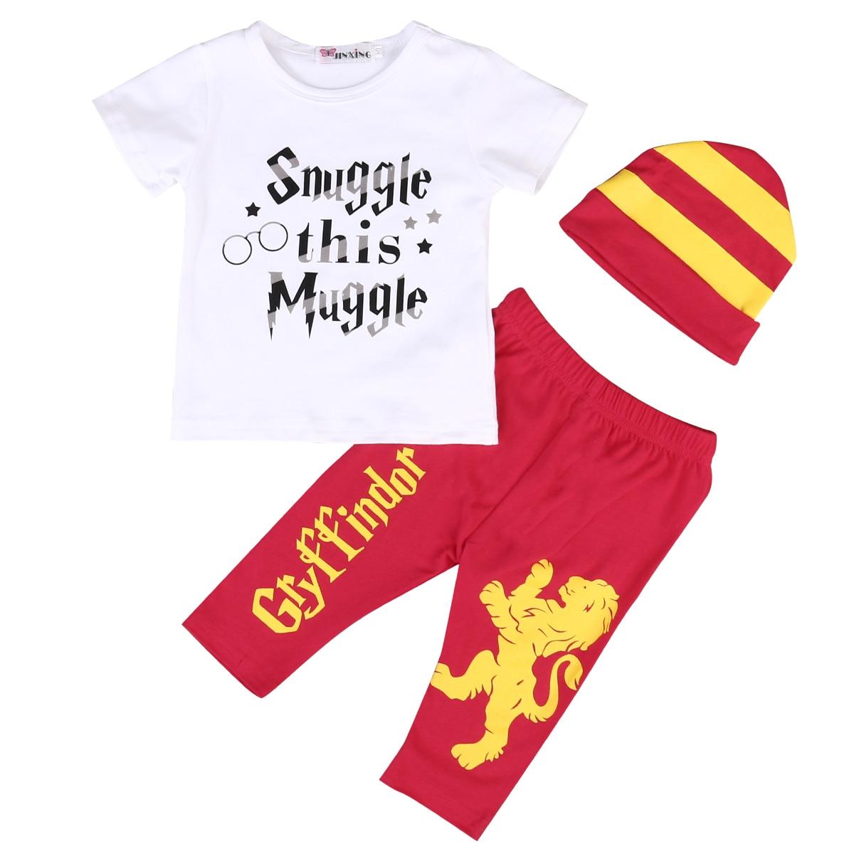 Snuggle this Muggle Newborn Infant Baby Boy Gilr Outfits Clothes Short Sleeve T-shirt Tops Pant Hat 3PCS Outfit Bebek Giyim вибромассажер мини snuggle bug фиолетовый