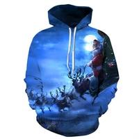 PLstar Cosmos 2017 Autumn New Christmas Funny Sweatshirts Digital Printing Santa Old Man Deer Pullovers Men