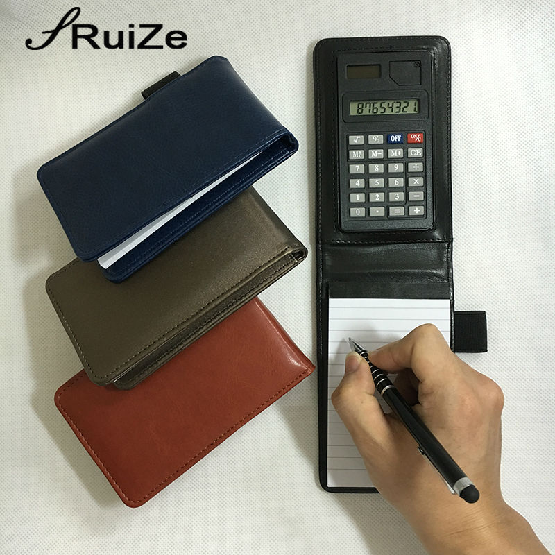 RuiZe creative multifunctionele kleine notebook A7 pocket notebook planner notepad lederen cover note boek met rekenmachine