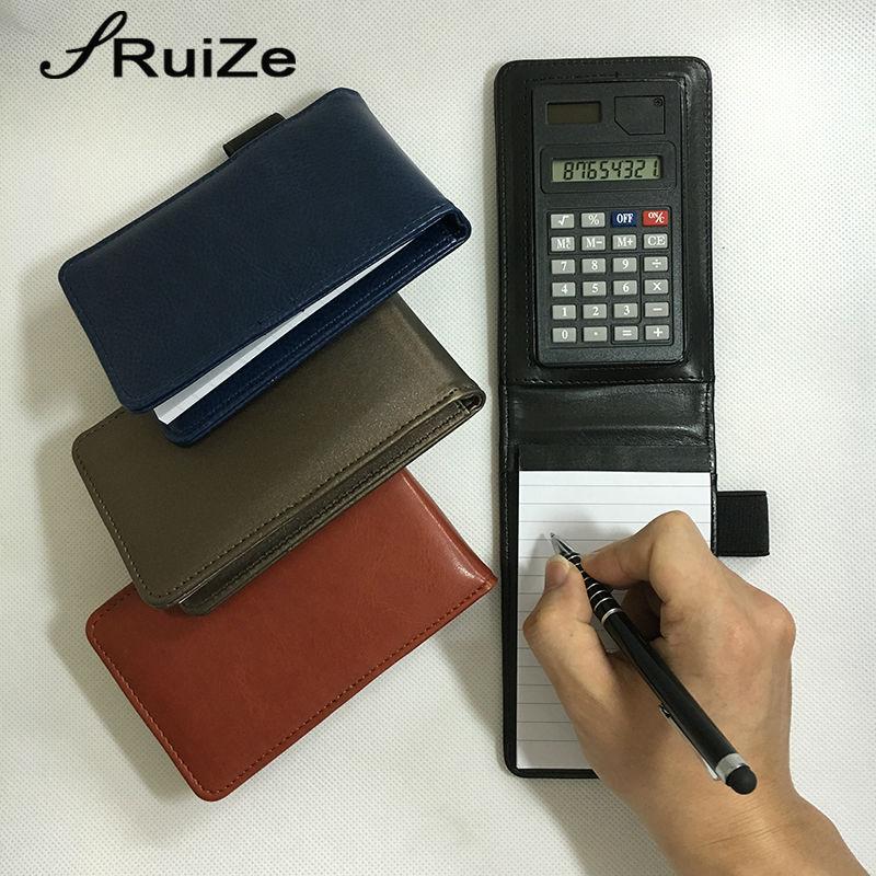 RuiZe kreatif multifungsi notebook kecil A7 poket notebook perancang notepad buku kulit penutup nota dengan kalkulator
