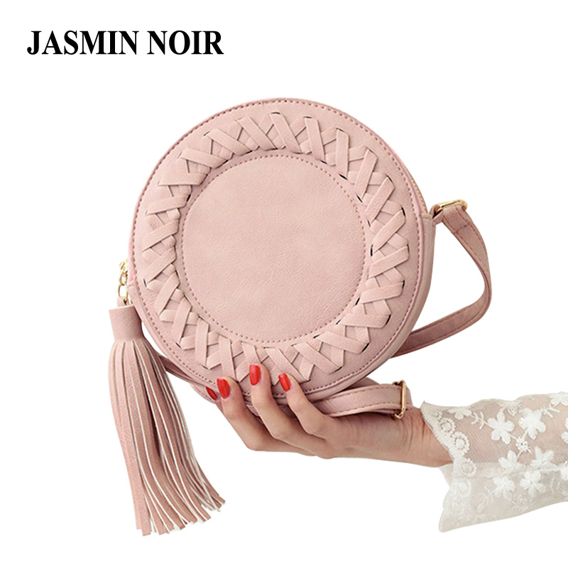 New Fashion women bag tassel Round weave Cross body Bag Messenger Bag Retro Ladies Cute Girls
