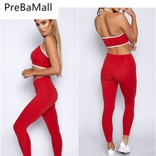 2019 New Arrived Tracksuit Womens Bodycon Sexy Halter Vest+Long Pants Suit Two Piece Set Ladies Sportwear Outfits C132