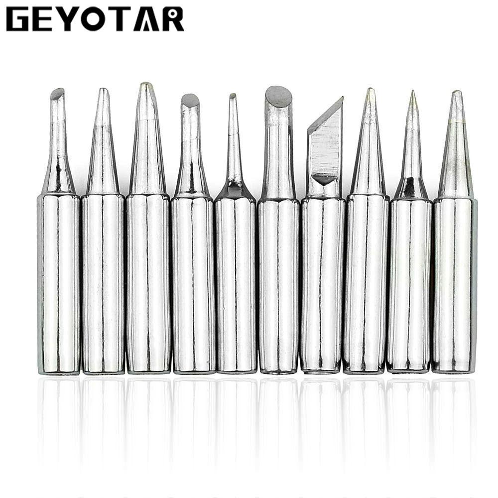 GEYOTAR 10PCS/set Lead-free Solder Iron Tip 900M Soldering Iron Tip For Hakko Rework Soldering Station Tool