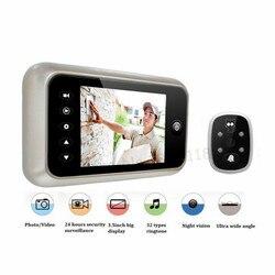 Новый 3,5 ЖК дисплей цвет экран электронный дверной звонок просмотра ИК ночного Дверь глазок камера фото/видео запись цифровая дверная каме...