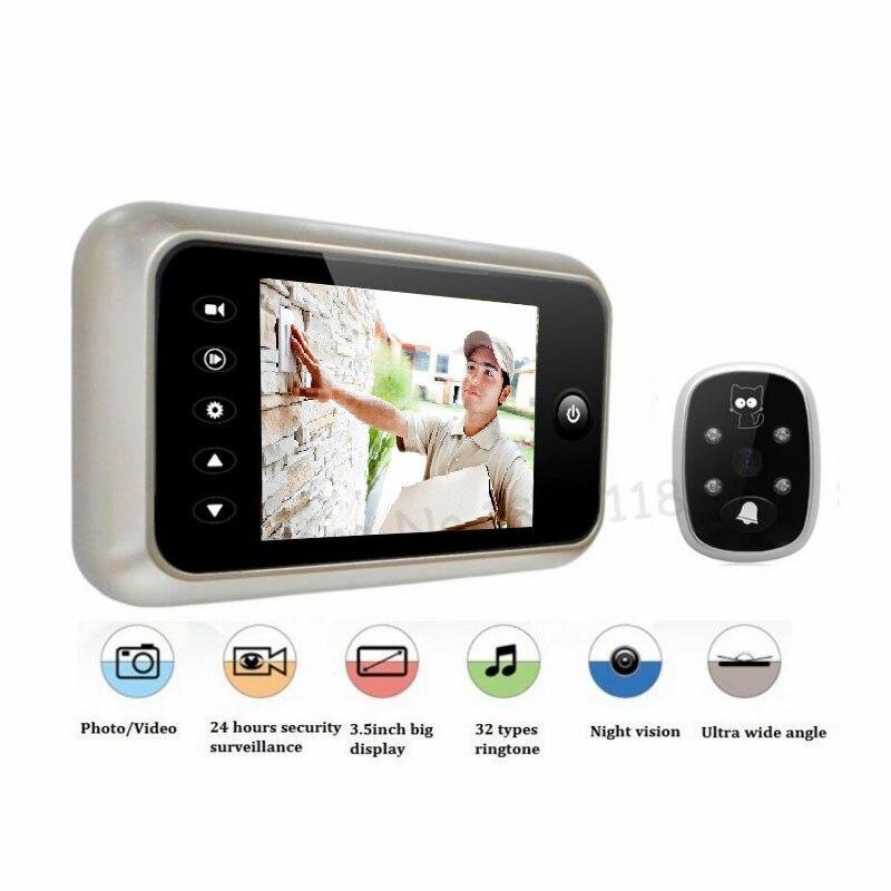 Nuevo 3,5 LCD Color pantalla electrónica timbre visor IR noche puerta mirilla Cámara foto/vídeo grabación Digital cámara de la puerta