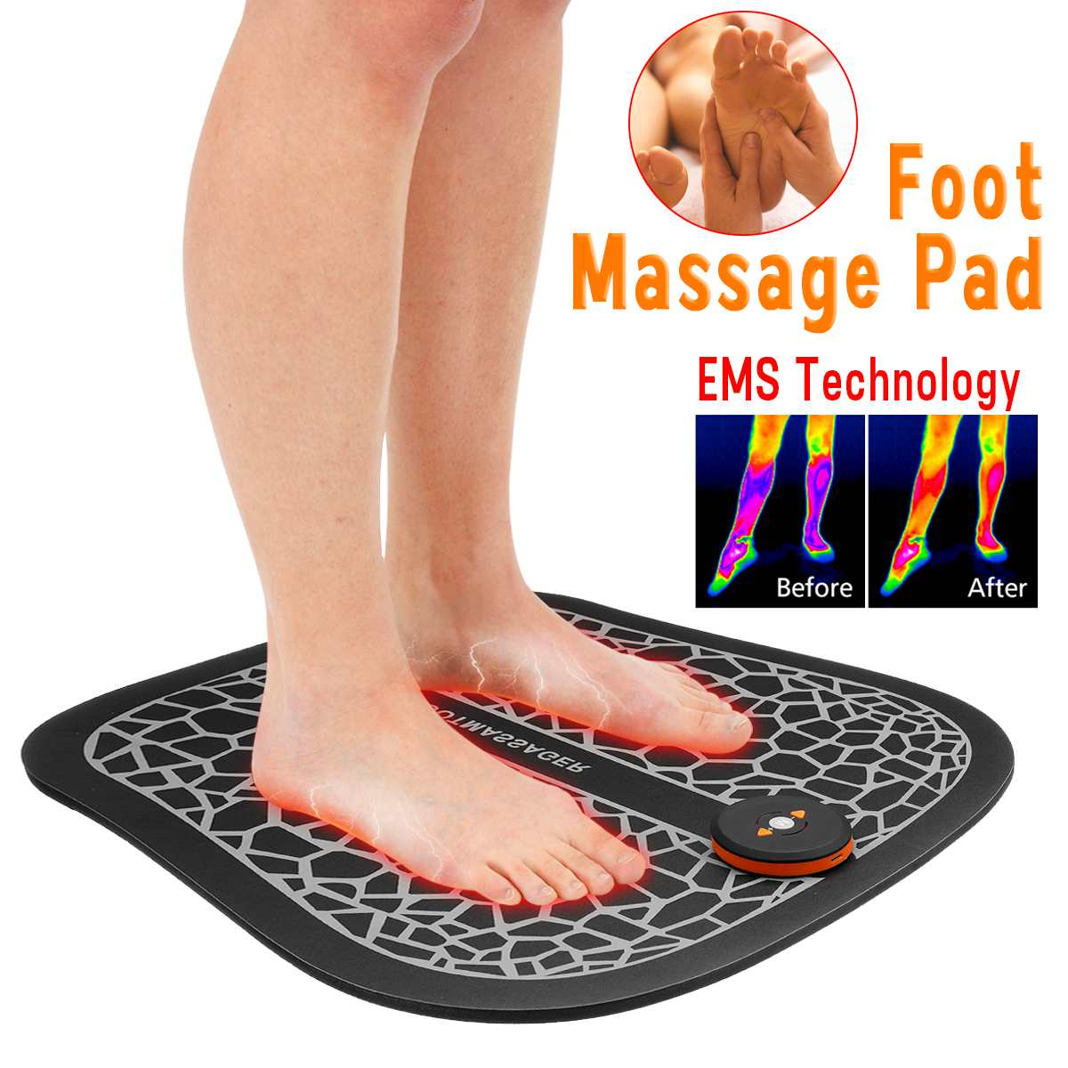 EMS Physiotherapy Foot Massage Mat Pad Electric Muscle Stimulator Vibrator Massager Pain Relief Feet Foot Spa Relaxation