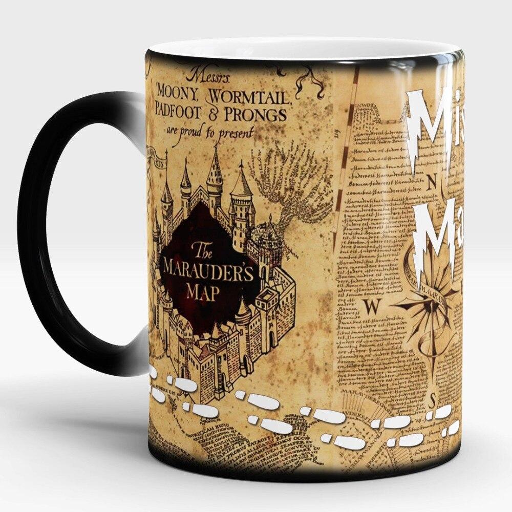 Hogwarts Mugs Marauders Map mugs mischief managed mug Heat Sensitive transforming cup cold hot heat changing