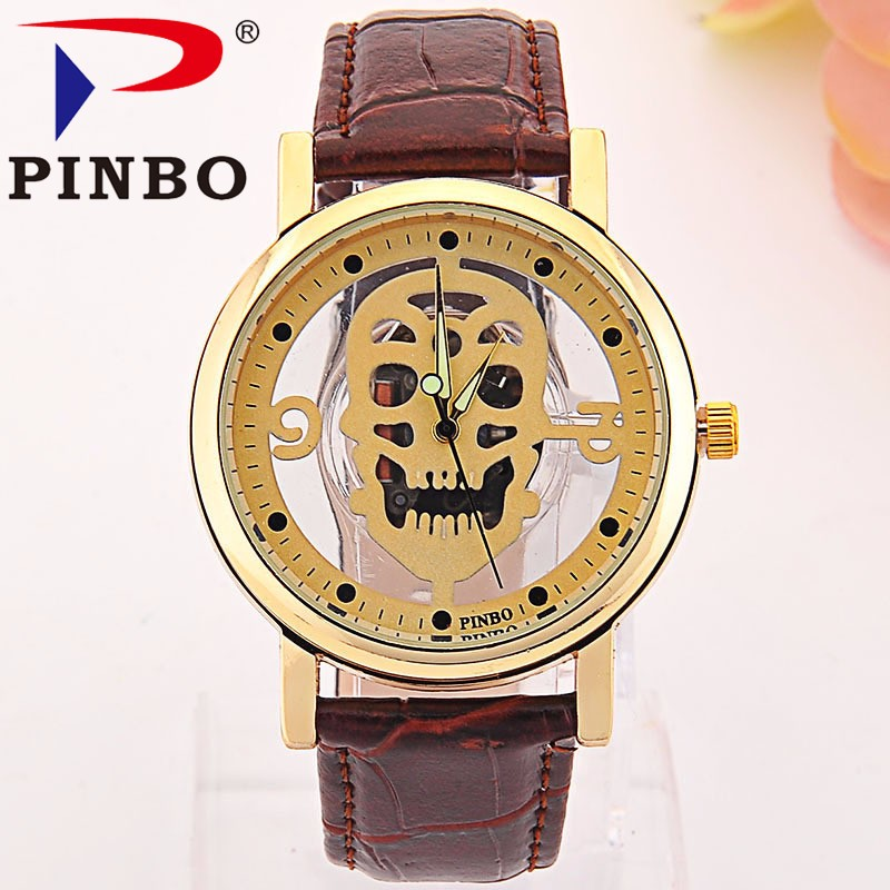 New Brand Men Watches Skull Imitation Skeleton Watch Faux Leather Analog Quartz Watch Fashion Causal Mens Clock reloj de hombre