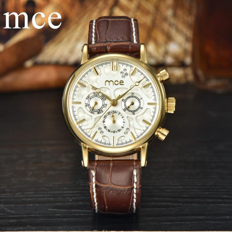 MCE Luxury Brand Mechanical Watch Automatic Waterproof Gold Calendar Watches Men Fashion Wristwatches Clock Male Roloj Hombre