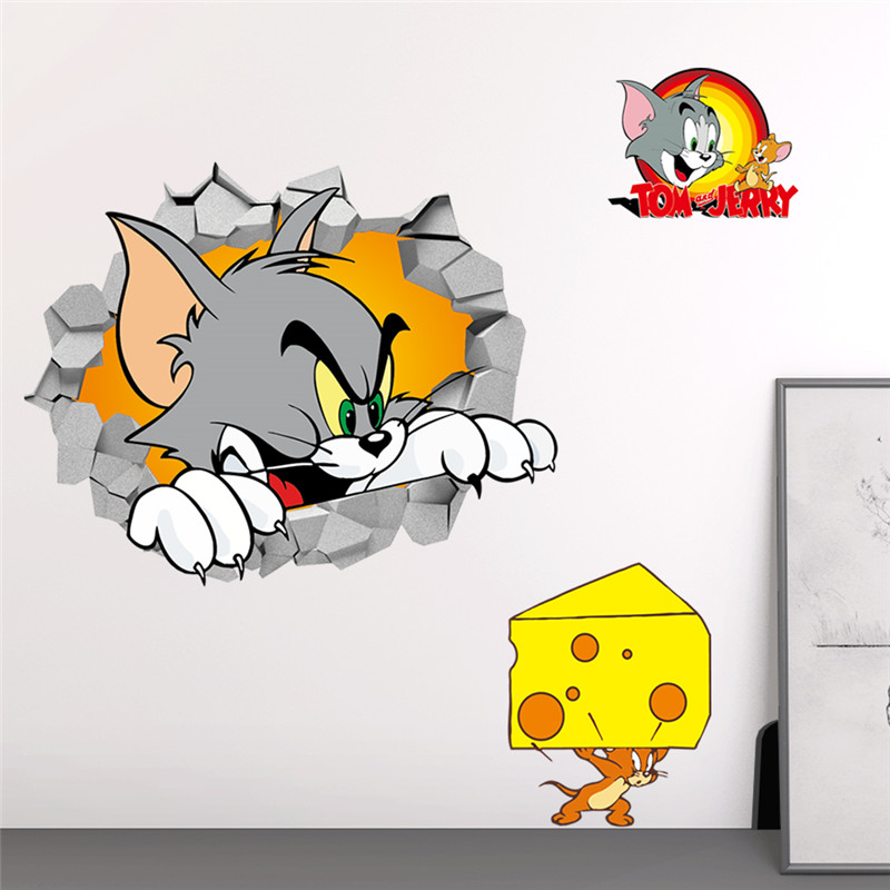 Cartoon Cat Mouse Wall Sticker For Kids Rooms childrens Bedroom fashion diy wall decals wall paper 3d effect fridge Decor
