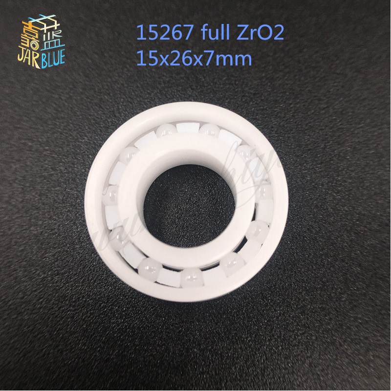 Free shipping high quality 15267 full ZrO2 ceramic deep groove ball bearing 15x26x7mm bike bearing wheel hub bearing 15267 2rs 15 26 7mm 15267rs si3n4 hybrid ceramic wheel hub bearing