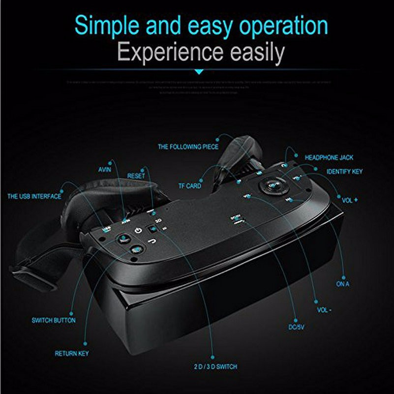 HMD-518 VR Glasses Virtual Reality Headset Screen 1080P 3D Video Movie Game Glasses Private Mobile Cinema Personal Theater Game Movie + 8G TF