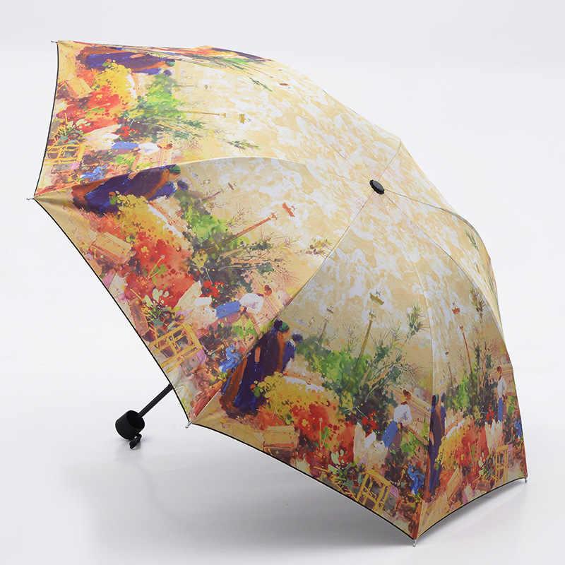 油絵ヨーロッパ風景パターン雨/太陽の傘、 3 折りたたみ肥厚抗 uv ファッション抽象芸術デザイン女性傘