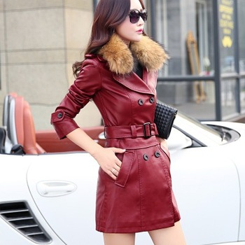 M-5XL autumn and winter leather ladies plus hair collar Slim long PU sheep leather clothing large size women's jacket