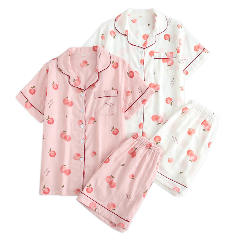 Summer fresh juicy peach short pajama sets women cute pyjamas short sleeves 100% cotton pijamas Korea kawaii short pyjamas