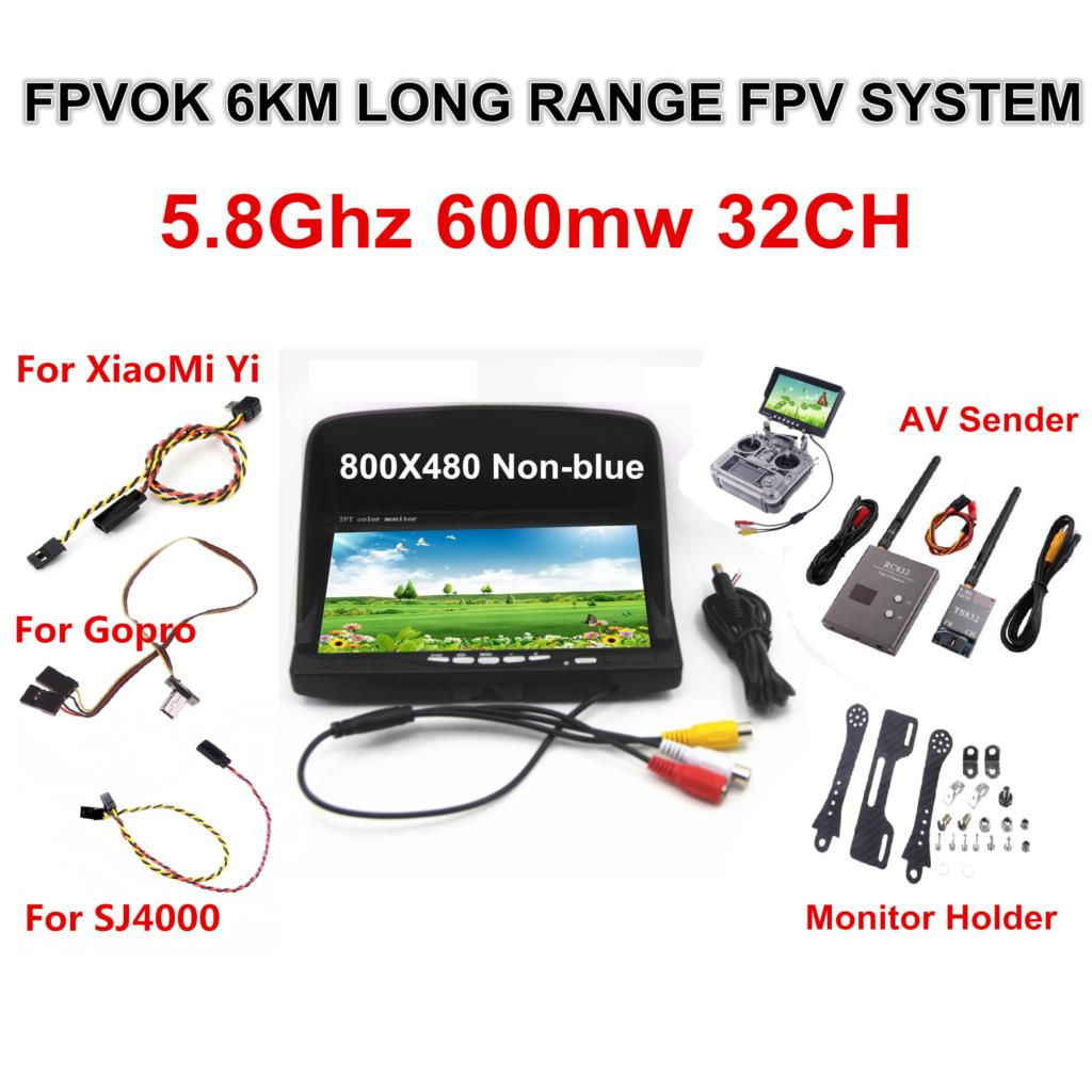 FPV Kit Combo System Boscam 5.8Ghz Video Transmitter and Receiver Suit For SJ4000 XiaoMi Yi Sport Action Camera Gopro 3 4 boscam fpv 5 8g 5 8ghz 2w 2000mw 8 channels 8ch wireless audio video av transmitter ts582000 and receiver rc305 combo