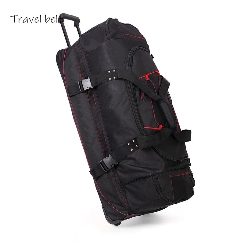 High Capacity Oxford Travel Bags Spinner 36 Inch Shoulder Suitcase Wheels Men Rolling Luggage Ice Hockey Protective Gear Bag