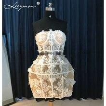 Sexy Transparent Mini Short Applique  Cocktail Dress 2016 Hot Strapless Sleeveless White Lace Robe CC01