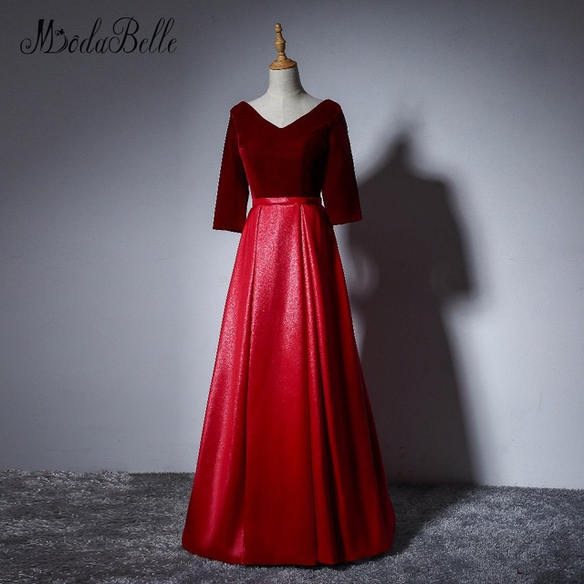 Modabelle Simple Wine Red Evening Dresses Half Sleeve Contrast Color robe  de bal longue Beautiful Velour Shiping Free Prom Dress 3eb12b29f2cc