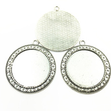 5Pcs Silver Tone Flower Lace Pendants Round Setting Cameo Base Tray Bezel Blank Metal Fit 30mm Cabochon Jewelry 44mm sweet bell free shipping 40pcs lot antique silver tone oval filigree frame cameo settings 22 30mm fit 13 18mm d0775