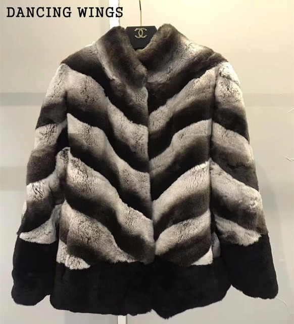 Whole Skin Real Rex Rabbit Fur Winter Coat Outerwear Thick Warm Women Stand Collar Short Jacket