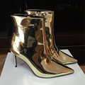 Espelho de ouro Patente Botas De Couro Tornozelo Mulheres Pontas Do Dedo Do Pé Metálico Sexy Stiletto Sapatos de Salto Alto Mulheres Bombas Botas Curtas Zíper Lateral