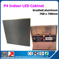 Ouro alumínio escovado de alumínio parede de vídeo led para p4 interior led vídeo painel 768 x 768 mm