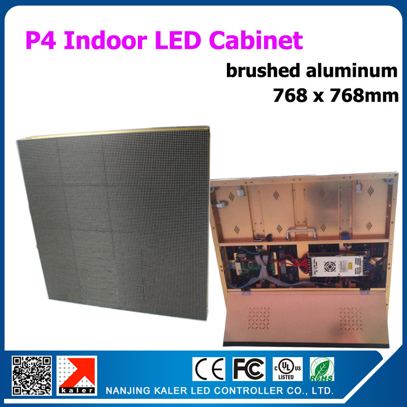 TEEHO New Golden Brushed Aluminum Led Display Rental P4 Indoor Video Wall Aluminum Cabinet Led Display Video Panel 768x768mm