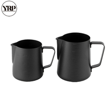 YRP Non-Stick Black Stainless Steel Milk Frothing Jug Pitcher Espresso Coffee Barista Craft Cream Latte Cup Mug With Scale
