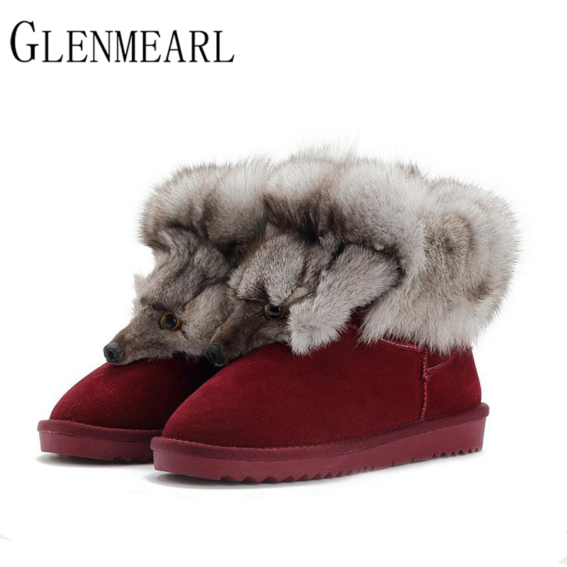 2017 New Fashion Fox Fur Womens Flats Boots Snow Boots Thick Bottom Big Size 35-44 Genuine Leather Female Winter Boot Shoes XP15