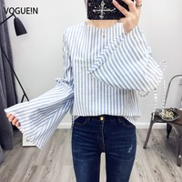 VOGUE N New Womens Blue Pink Striped Print Trumpet Sleeve Pullover Blouse Tops Shirt Size SML