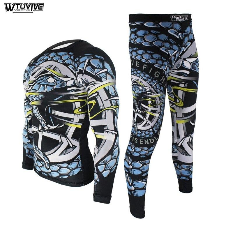 Boxing Set Compression Jersey+Pants Battle Rashguard KickBoxing Tight Long T-Shirts Trousers Muay Thai MMA Fightwear WTU12