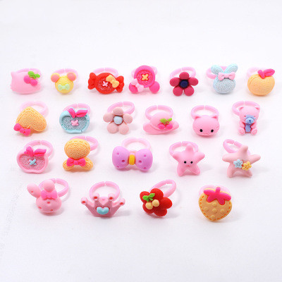 12pcs/lot Acrylic Cartoon flower ring Kids Finger Rings Party Favors Costume Birthday Party Gifts for Guest Baby Party Supplies