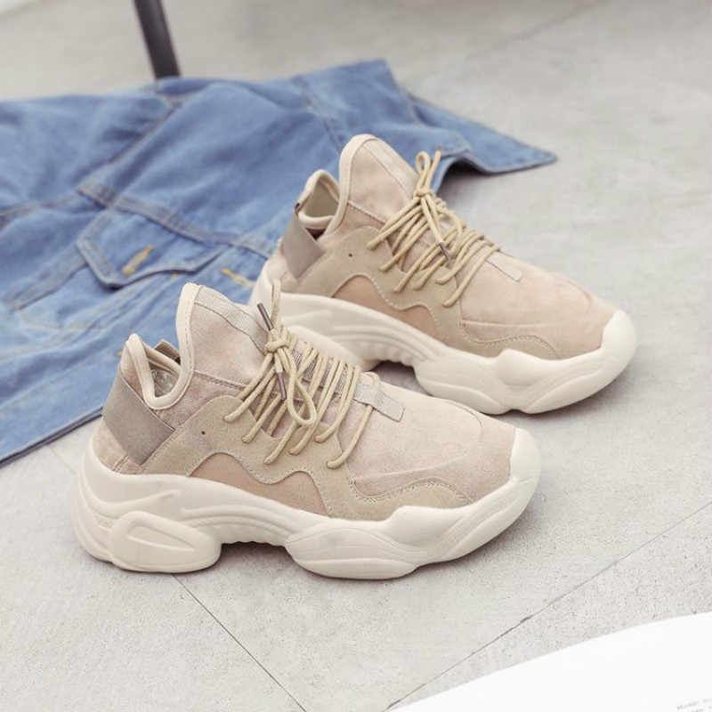 ฤดูใบไม้ผลิสีขาวรองเท้าสตรีแพลตฟอร์มรองเท้าผ้าใบลำลองรองเท้าผู้หญิงรองเท้าพ่อสาวลูกไม้ขึ้น Zapatos Mujer tenis ตะกร้า