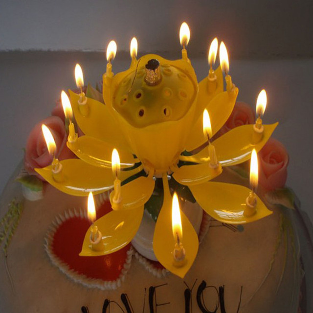 AIHOME 1Pcs Lotus Flowers Musical Candle Birthday Party Cake Topper Music Sparkle Rotating Candles Decoration