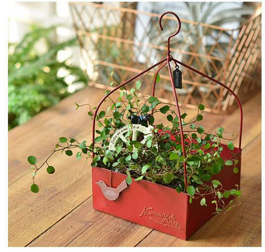 Rustic Hanging Red Iron Square Planter Pot Storage Box with Handle for Herb Succulents|Flower Pots & Planters| |  - title=