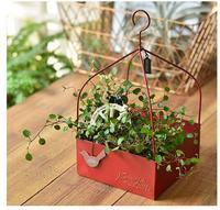 Rustico Appeso Ferro Rosso Quadrato Vaso Fioriera Scatola con Maniglia per Erba Piante Grasse